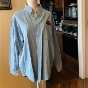 Blue Jean Button Down with embroidered Hummer